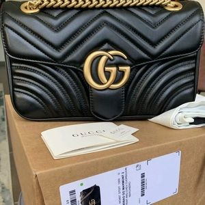 Black Gucci Marmont Metalassé Shoulder Bag